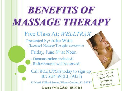 Julie Witts Massage Class Flyer Bamboo
