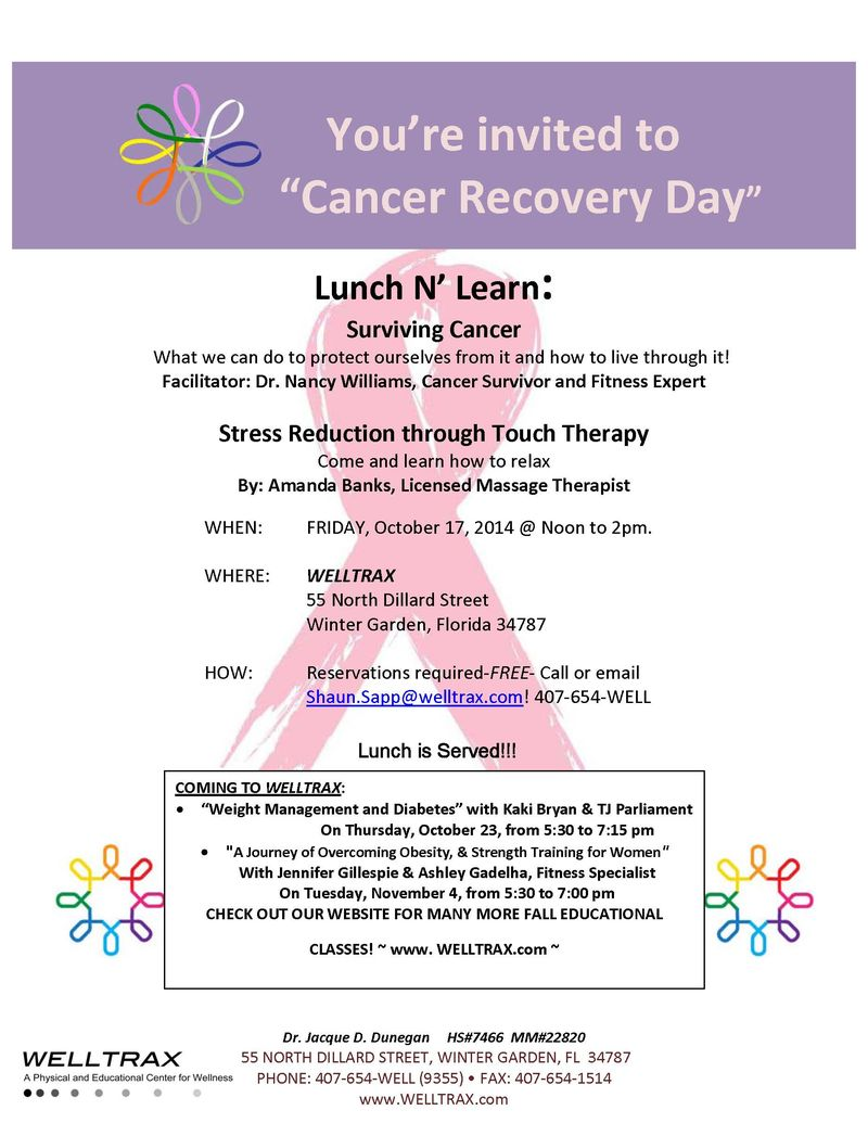 Cancer Recovery Day flyer '14 UPDATED